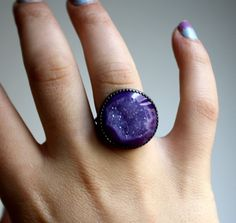 I'm gonna look so cool wearing this purple drusy ring this fall!  From etsy seller luckyduct.