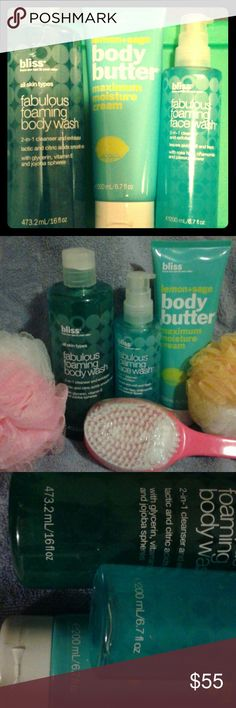 BLISS SPA- BLISS SPA - fabulous foam body wash 2-in 1 exfoliate  body wash 16 oz $24 / website/Bliss body butter on Website -$29 And Size -6.7-oz/ Face wash two-in-one rinse  cleanser Pump  on website- $24 and  6.6 oz-(Note )-The one that I have is 6.7 ounce, so that's more Product - /  ITEM NEW Products /  Total Bliss Website! $70 with Tax Shipping  their total cost $99 BLISS Other