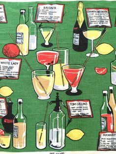 Vintage BAR Towel Cocktail Recipes Seltzer Bottle Glasses