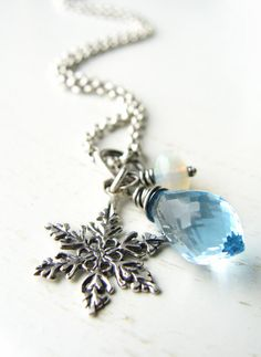 Blue Topaz Necklace Christmas Necklace Snowflake