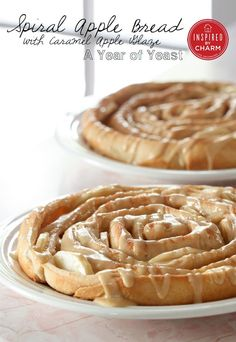 Spiral Apple Bread with Caramel Apple Glaze | Inspired by Charm