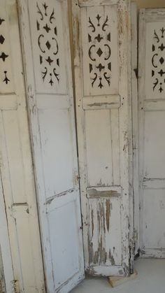 Shabby Chic Home Decor Old Shutters, Interior Shutters, Vintage Shutters, Bedroom Shutters, White Shutters, Wooden Shutters, Trumeau, Do It Yourself Design, Shutter Doors