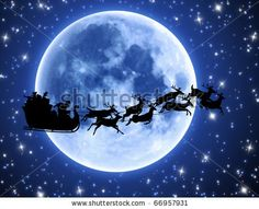 stock photo : Santa's sleigh and reindeer silhouette with full moon and stars