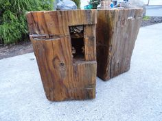 Hand Hewn antique timber square side tables by MtHoodWoodWorks