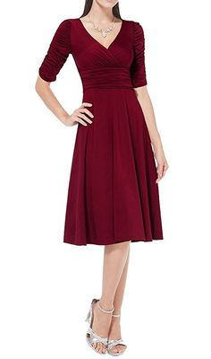 Doramode Women's 3/4 Sleeve V Neck Empire Waist Fit and Flare Midi Cocktail Dress ** Buy now: http://amzn.to/2iMVp39