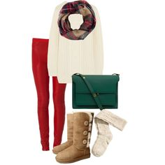 But with brown knee high boots Green Bag, Red Green, Green Christmas, Merry Christmas, Winter Clothes, Winter Outfits, Red Plaid Scarf, Brown Knee High Boots, Comfy Outfit