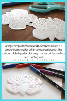 These bright butterfly prints start with a free printable template. Choose printing ink or a marker printmaking method to add color to your butterfly print! Stencil Printing, Printing Ink, Animal Crafts For Kids, Art For Kids, Styrofoam Plates, Octopus, Recycled Art Projects, 4th Grade Art, Art Lessons Elementary