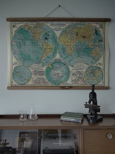 Want one for my study...Vintage World Map on Etsy