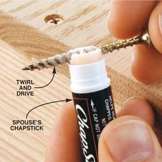 Keep a tube of lip balm handy to lube the screws before driving. It's fast to apply and the wax in it lets you drive screws fast and easy.