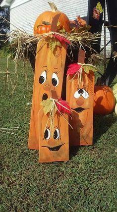 Wood pumpkins, Cute faces!!