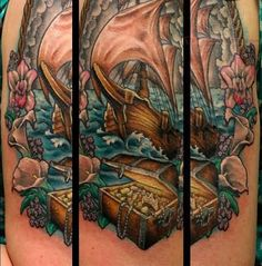 Pirate Ship Tattoo Sleeve | Related Pictures pirate ship and kraken tattoo by jamie parker art