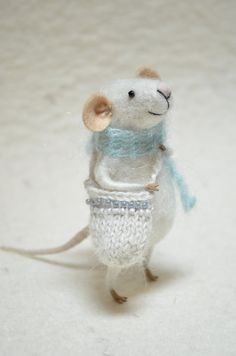 Little Traveler Mouse- unique - needle felted ornament animal, felting dreams made to order. $58.00, via Etsy.