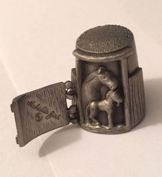 Nicholas Gish Pewter Thimble ~ Horse ~ Stable Door Opens ~ Signed