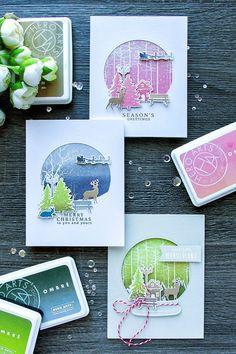 Hero Arts | October My Monthly Hero Blog Hop - Snow Globe Ombre Cards