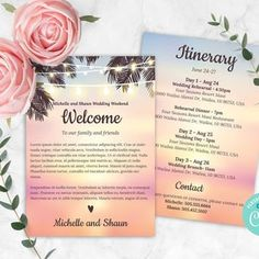 Beach Wedding Itinerary Corjl Template Wedding Welcome | Etsy Wedding Invitation Sets, Party Invitations, Wedding Stationery, Invitation Cards, Wedding Schedule, Wedding Planner, Destination Wedding, Wedding Timeline, Diy Wedding