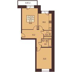 2 комнаты 61.6 м²