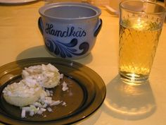 """handkäse mit musik und apfelwein - I had this at Adolf Wagner's in Frankfurt -""""Hand cheese with music"""" (regional cheese with oil, vinegar and chopped onions), bread and butter. Wonderful appetizer :)"""