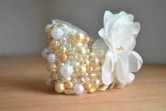 Pearl Wedding Cuff  Swarovski Crystal Bridal by parkstudio on Etsy, $65.00