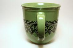 Green Lace Henna Painted Coffee Mug by ibleedheART