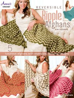 You can create these five lovely afghans that maintain the look of the ever-loved traditional ripple on one side, while updating it on the other by creating interesting patterns, shapes and textures. The unique nature of these fully reversible throws...