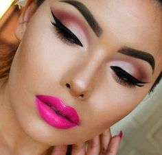 Bright matte pink lips and gradient eye makeup. #pink #matte #makeup #fashion #brightpinklips