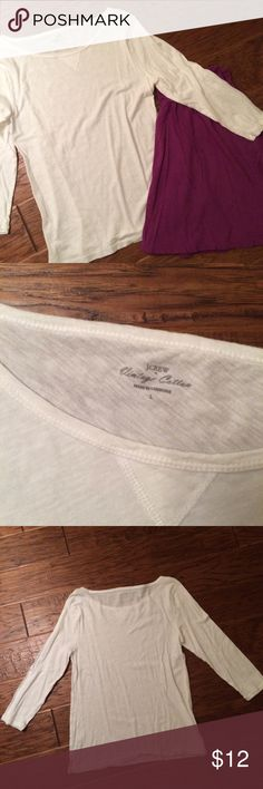 J. Crew Vintage Cotton 3/4 Sleeve Shirt Cute white shirt. 3/4 length sleeves. Very soft and lightweight, somewhat sheet. Looks great with colorful skirts and pants. Teeny tiny stain on back near hem. See pic. J. Crew Tops Tees - Long Sleeve