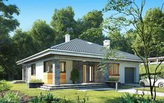 Wizualizacja AN BLANKA CE Compact House, Modern Bungalow, Gazebo, House Plans, Exterior, House Design, Outdoor Structures, How To Plan, Mansions