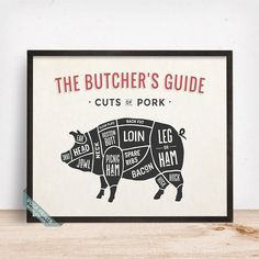 PORK, BUTCHERS GUIDE PRINT by Voca Prints! Butcher's Guide print comes in 5 different styles such as Pork, Chicken, Lamb, Beef and Duck. It makes a perfect gift for meat lovers and will make the kitchen wall stand out!