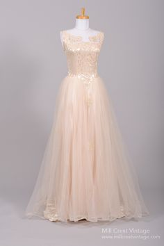 ~1950s Shell Pink Bow Lace Tulle Vintage Wedding Gown~