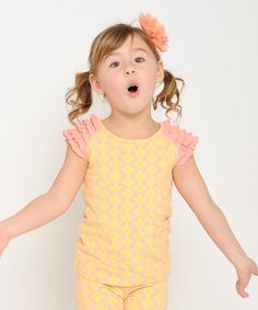 Yellow & Pink Romantic Ruffle Cap-Sleeve Top - Toddler & Girls by Giovanna & Felice #zulily #zulilyfinds