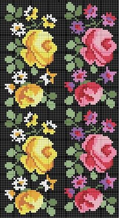 This Pin was discovered by Hül Cross Stitch Bookmarks, Cross Stitch Borders, Cross Stitch Rose, Cross Stitch Flowers, Cross Stitch Charts, Cross Stitch Designs, Cross Stitching, Cross Stitch Embroidery, Hand Embroidery