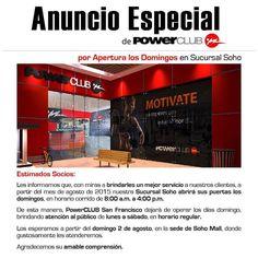 Desde este Domingo 2 de Agosto puedes entrenar en @powerclubpanama #Soho !! Ahora la Sucursal de Soho Mall esta abierta todos los Domingo de 8 am a 4 pm !! #CualEsTuExcusa #YoEntrenoEnPowerClub