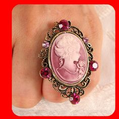 Pink Crystal Cameo Ring