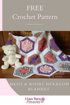 Get your FREE Crochet Hugs & Kisses Hexagon Blanket Pattern Here. Free Crochet, Hug, Kiss, Crochet Patterns, Blanket, Crochet Chart, All Free Crochet, A Kiss, Rug