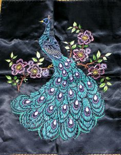 Embroidered peacock by Pamela Kellogg of Kitty and Me Designs