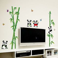 Bamboo Panda And Butterfly Living Room Decorative Wall Stickers Red Purple, Blue Yellow, Green, Wall Stickers Room, Animal Wall Decals, Room Kids, Room Colors, Panda, Bamboo