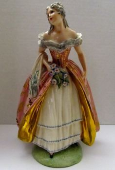 Victor Bertolotti Italy Porcelain Vintage Figurine Victorian Princess Flower   eBay