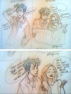 Teddy and Victoire reading Rita Skeeter's new article. - burdge