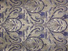 "Pure Silk Brocade fabric Purple,Grey & ivory 44"""