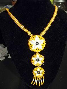 """18"""" Orange & White Beaded Necklace"""