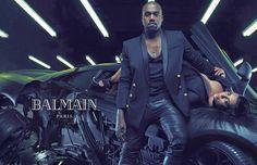 Kanye West and Kim Kardashian for Balmian spring/summer 2015 Menswear advertising campaign. #balmain