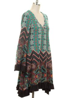 Teal Pattern Tunic Dress with Faux Suede Ruffle
