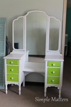 White and Lime Green Vanity, this is great for a young girls room!!