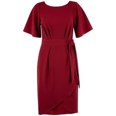 Closet Tie Front Dress, Burgundy featuring polyvore, fashion, clothing, dresses, bell sleeve dress, red mini dress, short evening dresses, wrap maxi dress and wrap dress