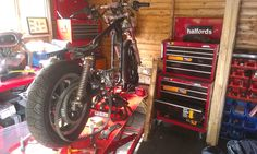 work beening done Golf Bags, Shed, Motorcycle, Vehicles, Lean To Shed, Biking, Motorcycles, Coops, Barns