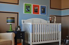 Love this unique design in this #babyboy truck-themed #nursery!