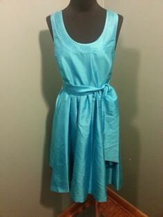 Kenzie Pretty Turquoise Silk Sleeveless Belted Lined Evening Party Dress XS $47 OBO Free Shipping!
