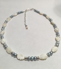 Mother of Pearl and Freshwater Pearl Necklace by GrowlyHavenJewelry on Etsy