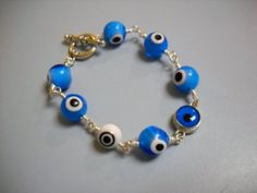 I Got MY EYE On You Blue White and Silver Wire by Beads4You2008,