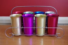 Great Set of 8 Vintage Anodized Aluminum by retrowarehouse on Etsy